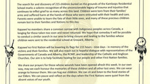 Recognition of Kamloops Residential School Victims
