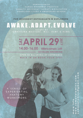 AWAKE.ADAPT.EVOLVE.          Experiential Anatomy Workshop series