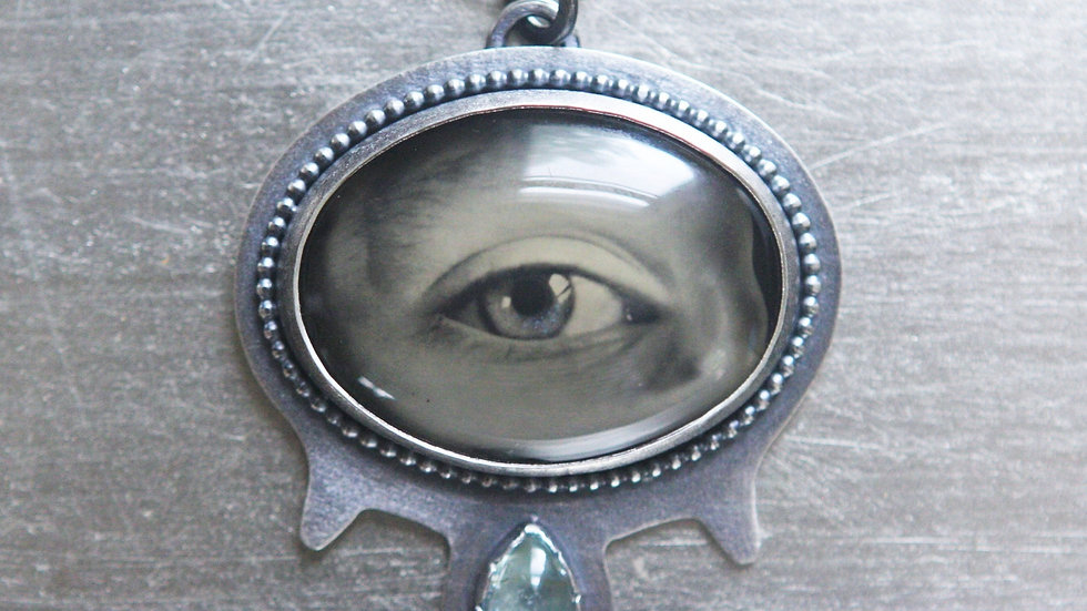 Available now! Lover's Eye Ambrotype w/ Blue Tourmaline Stone in Silver