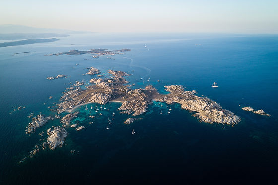 Aerial view of Lavezzi island near Corsi