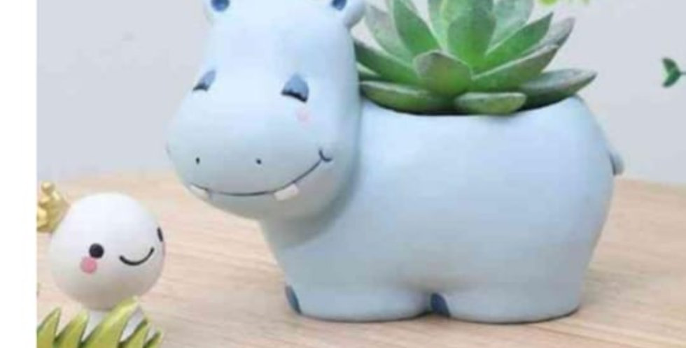 Cute Hippo Resin Planter