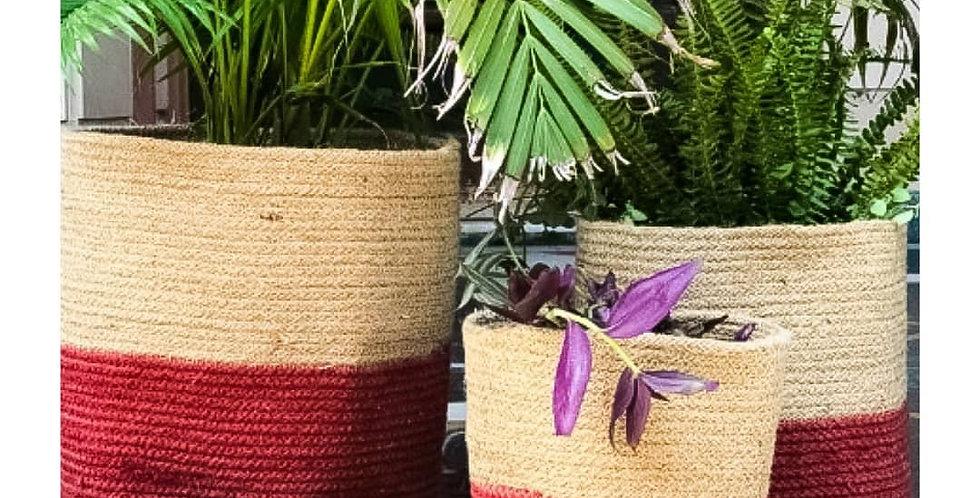 Hand Woven Red Bottom Jute Planter