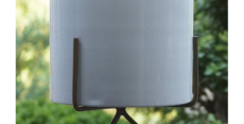 White Round Metal Planter with Stand