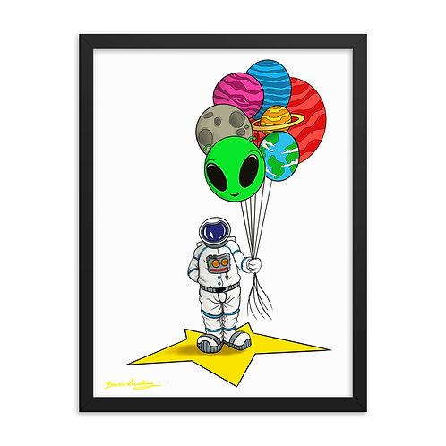 Happy Space (framed metal print)