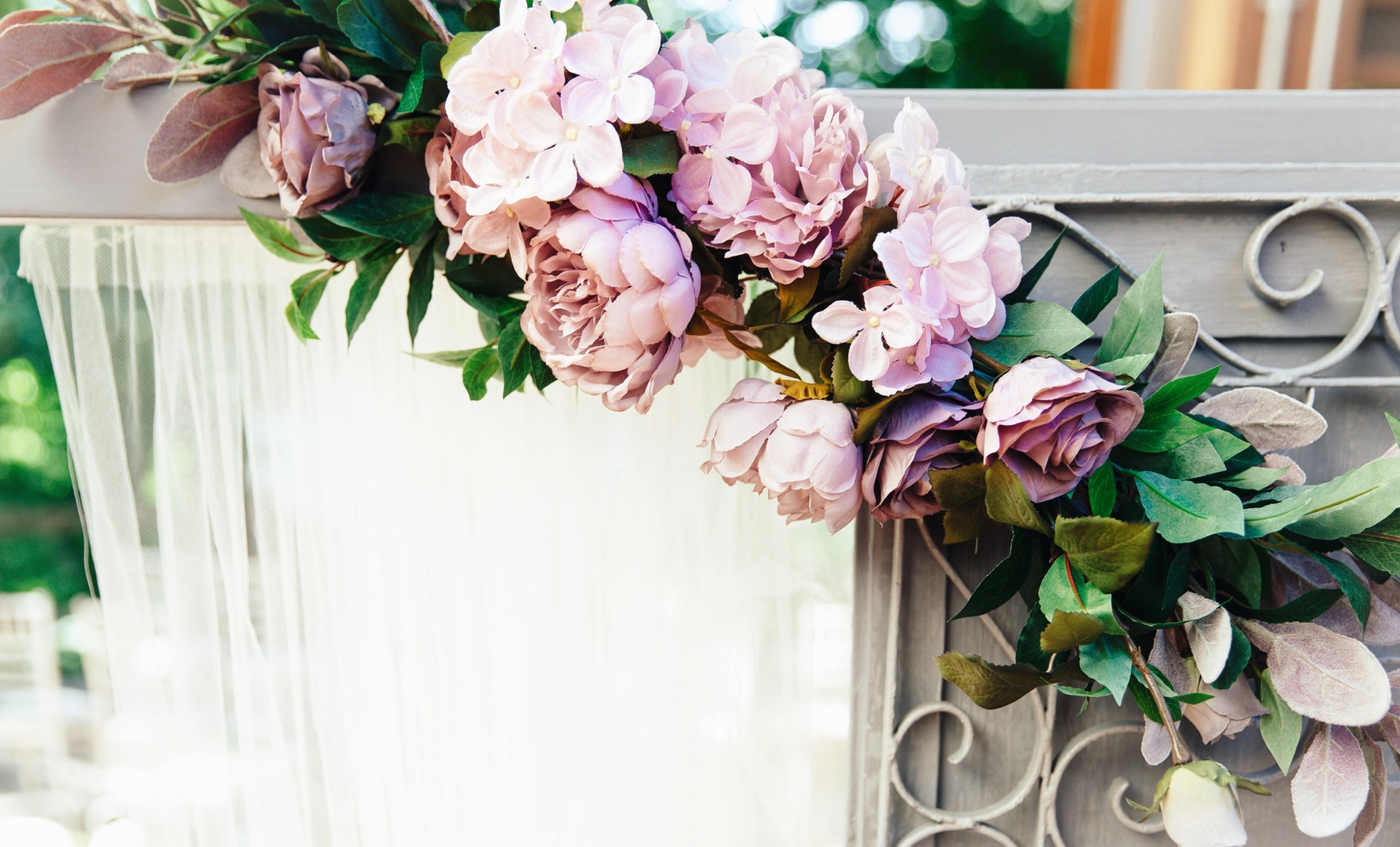 Blush Roses on Grey Doors