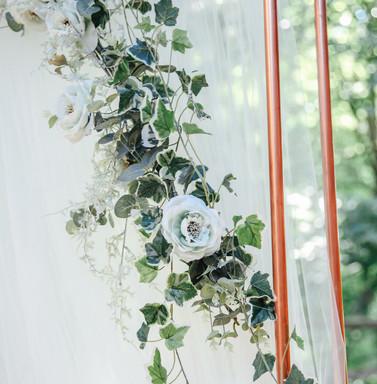 White Drapes & Vintage Roses on Copper Frame