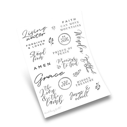 Be still and know Bible journaling stickers   Doodling Faith