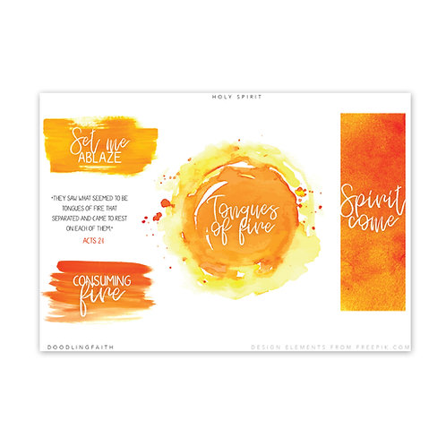 Printable for Bible journaling - Pentecost | Doodling Faith