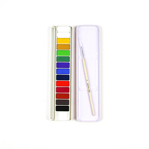 Watercolour Palette with 14 colours and a brush