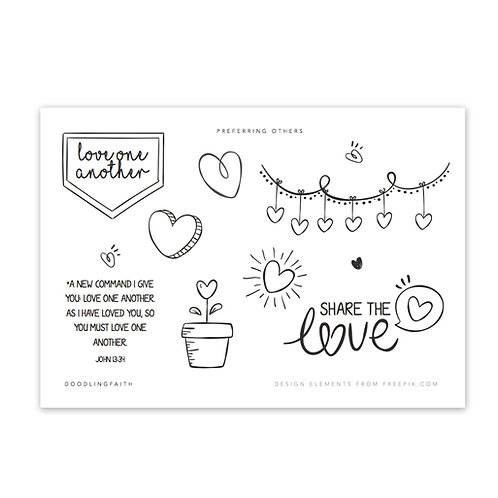 Printable for Bible journaling - Love One Another | Doodling Faith