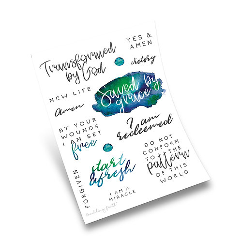 Transformed by God Bible Journaling Stickers | Doodling Faith