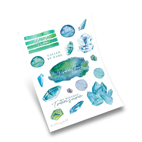 Precious to God Bible journaling stickers Blue Watercolour Gems | Doodling Faith