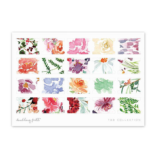 Blank Tabs 20 unique floral watercolour patterned tabs | Doodling Faith