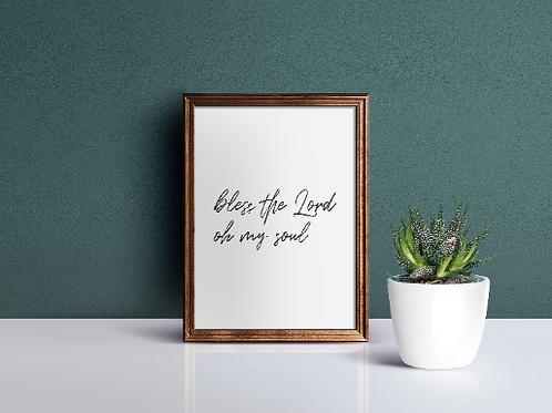 Bless the Lord oh my soul Psalm 103 - A4 Christian Art Print | Doodling Faith