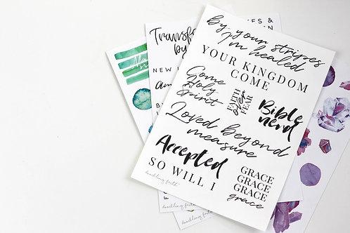 Bulk bundle of all 8 sticker sheets   Doodling Faith