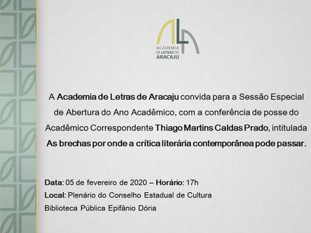 Academia de Letras de Aracaju realiza Sessão Especial de Abertura do Ano Acadêmico