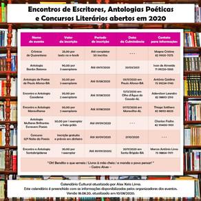 Encontros de Escritores, Antologias Poéticas e Concursos Literários abertos em 2020