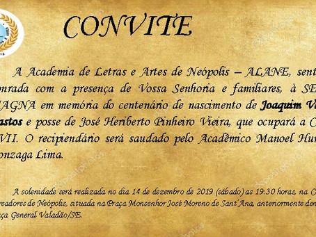Academia de Letras de Neópolis realiza Sessão Magna em memória ao centenário de Joaquim Valadão Bast