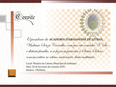 Academia Itabaianense de Letras realiza Sessão Solene comemorativa ao seu sétimo aniversário