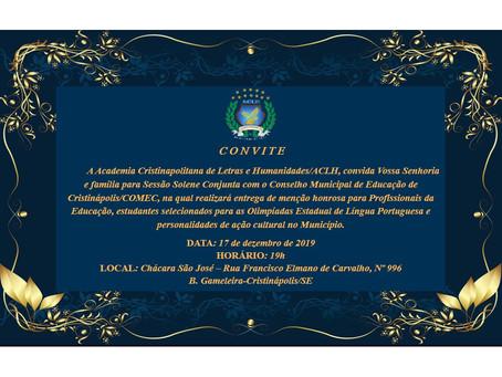 Academia Cristinapolitana de Letras e Conselho Municipal de Educação de Cristinápolis entregarão men