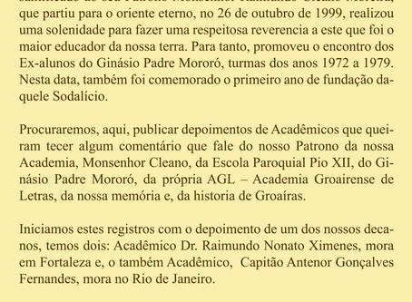 Homenagem ao Monsenhor Raimundo Cleano Moreira