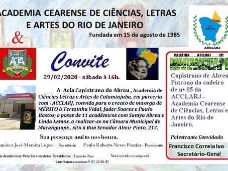 ACLA e ACCLARJ realizam evento de outorga de Mérito e posse de novos acadêmicos