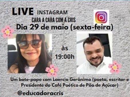 """Live """"Cara a cara com a Cris"""" no instagram"""