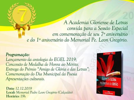 7º Aniversário da Academia Gloriense de Letras e 1º Aniversário do Memorial Pe. Leon Gregório