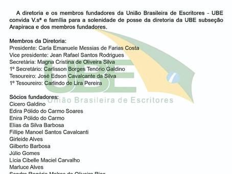 União Brasileira de Escritores realiza solenidade de posse da diretoria da UBE de Arapiraca
