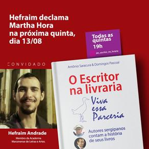 """Hoje tem live """"O escritor na livraria"""" com o convidado Hefraim Andrade"""