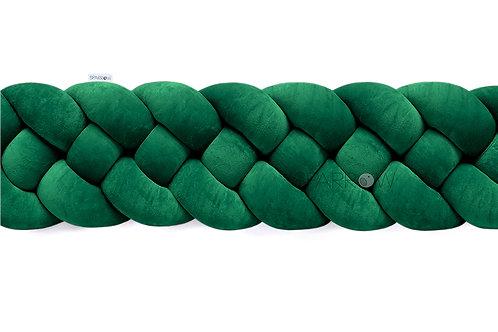 Ochraniacz do łóżeczka warkocz 4 pasma butelkowa zieleń