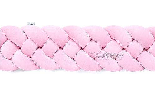 Ochraniacz do łóżeczka warkocz 4 pasma baby pink