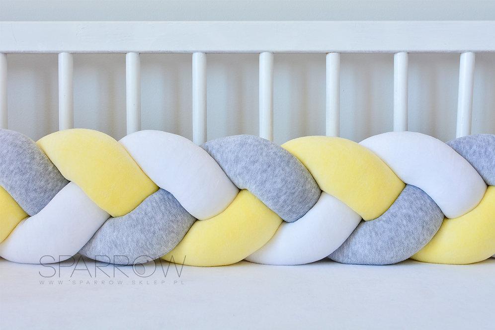 Ochraniacz Do łóżeczka Warkocz Pleciony Velvet Biały żółty Szary Melanż