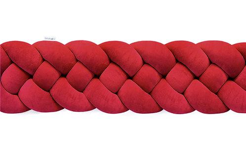 Ochraniacz do łóżeczka warkocz 4 pasma czerwony