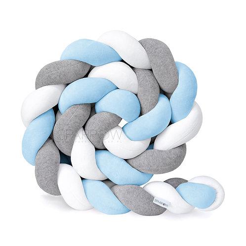 Ochraniacz do łóżeczka WARKOCZ pleciony VELVET biały, szary melanż, błękitn