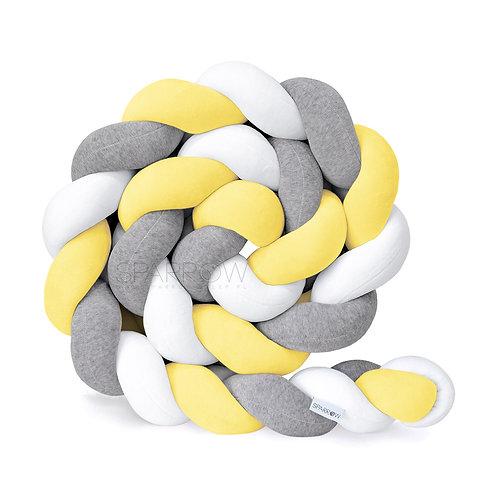 Ochraniacz do łóżeczka WARKOCZ pleciony VELVET biały, żółty, szary melanż