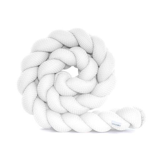 Ochraniacz do łóżeczka warkocz WAFFLE biały