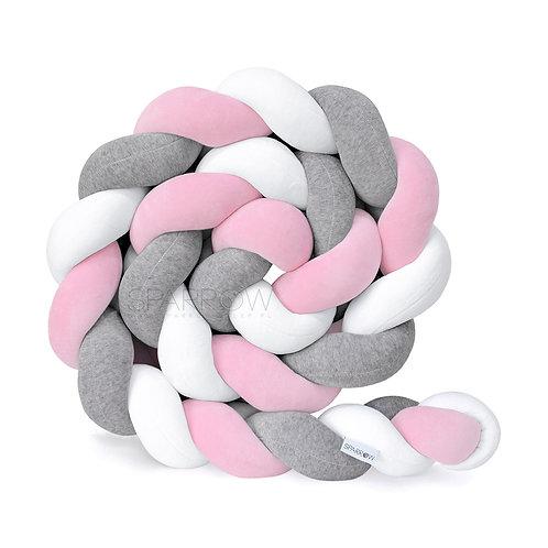 Ochraniacz do łóżeczka WARKOCZ pleciony VELVET biały, szary melanż, baby pink