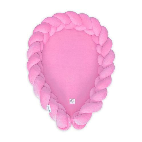 Kokon niemowlęcy warkocz /Babynest braid 2w1 różowy