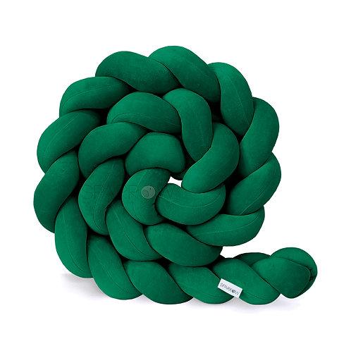 Ochraniacz do łóżeczka WARKOCZ pleciony VELVET butelkowa zieleń