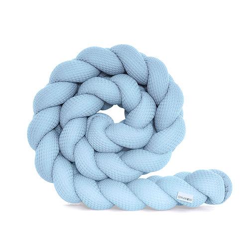 Ochraniacz do łóżeczka warkocz WAFFLE błękitny