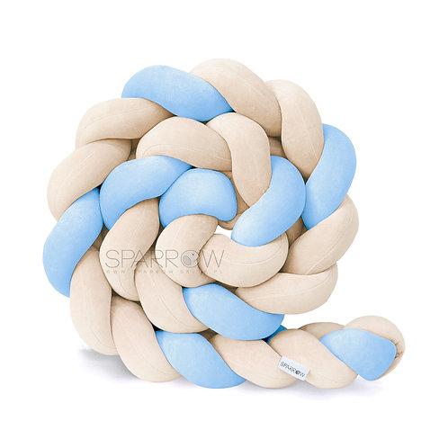 Ochraniacz do łóżeczka WARKOCZ pleciony VELVET migdałowy , baby blue