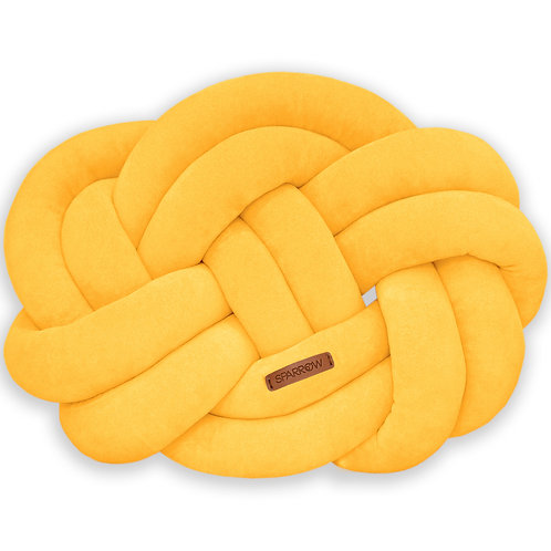 Poduszka supeł PRECEL/ knot pillow / knot cushion - musztarda
