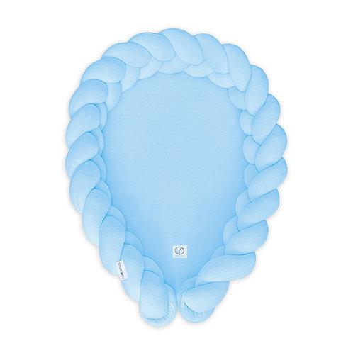 Kokon niemowlęcy warkocz /Babynest braid 2w1 baby blue