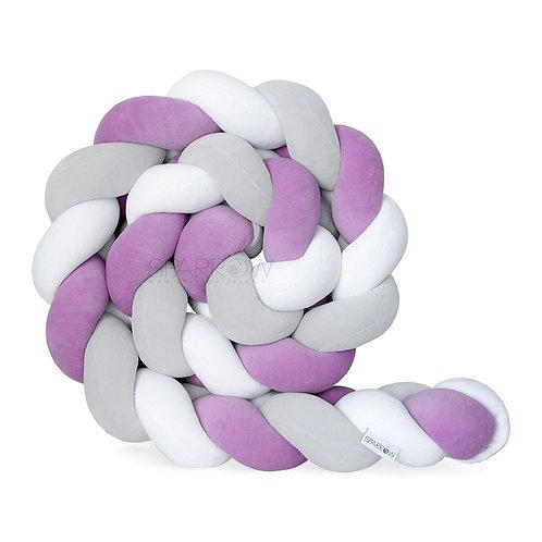 Ochraniacz do łóżeczka WARKOCZ pleciony VELVET biały, jasny szary, fioletowy
