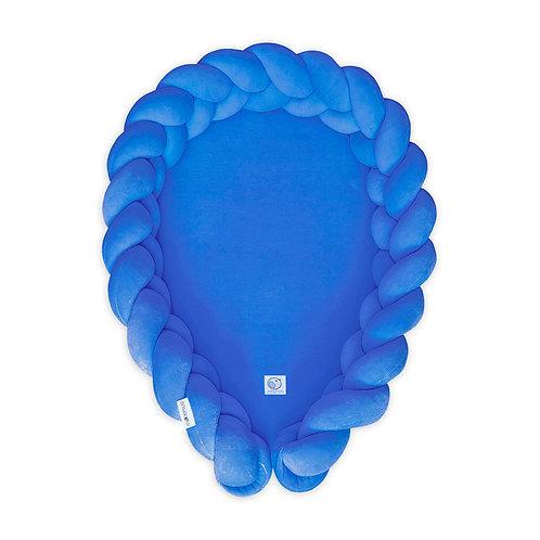 Kokon niemowlęcy warkocz /Babynest braid 2w1 niebieski