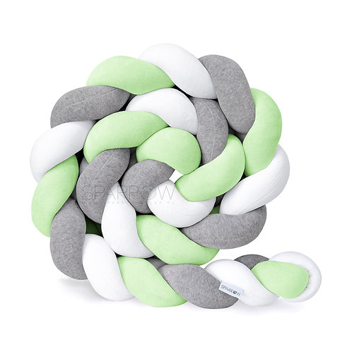 Ochraniacz do łóżeczka WARKOCZ pleciony VELVET biały, szary melanż, zielony