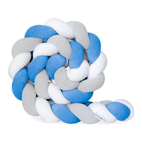 Ochraniacz do łóżeczka WARKOCZ pleciony VELVET biały, jasny szary, niebieski