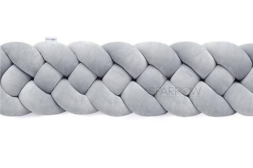 Ochraniacz do łóżeczka warkocz 4 pasma klasyczny szary