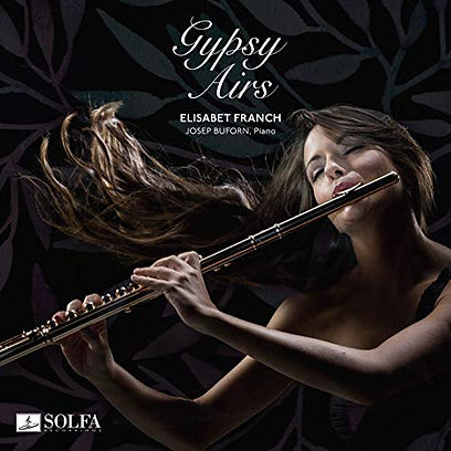 Elisabet Franch playing her flute on the cover of her album, Gypsy Airs